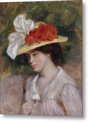 Woman In A Flowered Hat Metal Print by Pierre Auguste Renoir