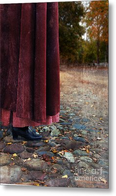 Woman In Vintage Clothing On Cobbled Street Metal Print by Jill Battaglia