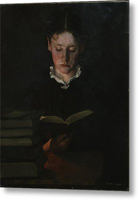 Woman Reading Metal Print by Signe Scheel