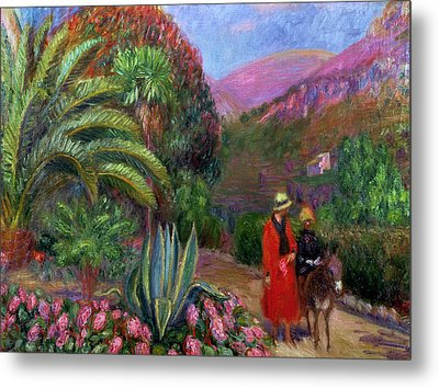 Woman With Child On A Donkey Metal Print by William James Glackens