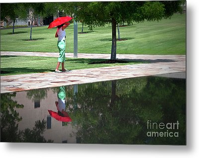 Woman With The Red Umbrella Metal Print by Tamyra Ayles