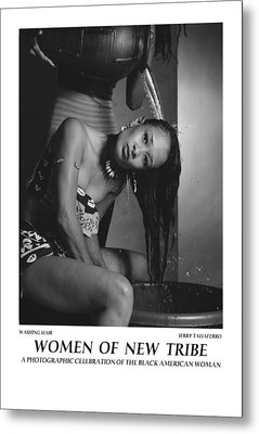 Women Of A New Tribe - Washing Hair Metal Print by Jerry Taliaferro