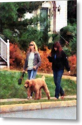 Women Walking A Dog Metal Print by Susan Savad