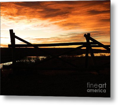 Wood Fence Sunrise Metal Print by Sara  Mayer