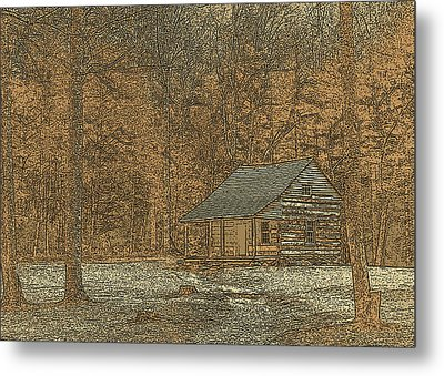 Woodcut Cabin Metal Print by Jim Finch