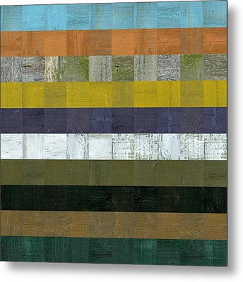 Wooden Abstract L Metal Print by Michelle Calkins