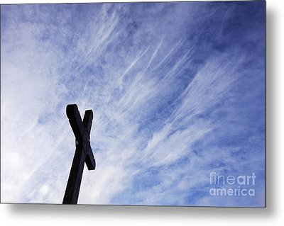 Wooden Cross Metal Print by Jeremy Woodhouse