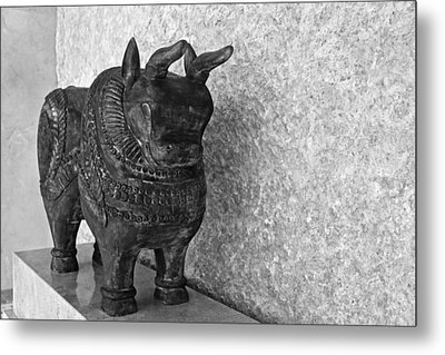 Wooden Hand Carved Ornamental Bull Metal Print by Kantilal Patel