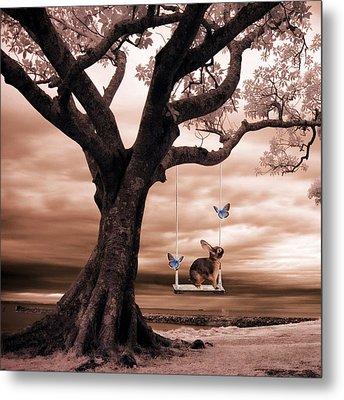 Woodland Swing Metal Print by Sharon Lisa Clarke