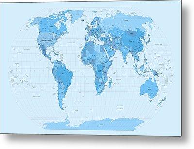 World Map Blues Metal Print by Michael Tompsett