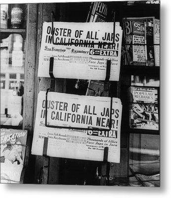 World War II, News Headlines Announcing Metal Print by Everett