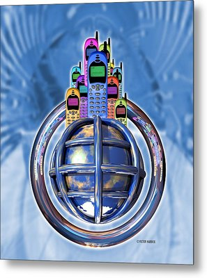 Worldwide Mobile Telephone Use Metal Print by Victor Habbick Visions