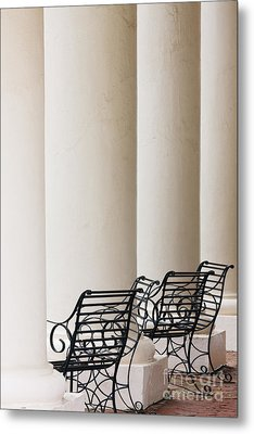 Wrought Iron Chairs And Columns Metal Print by Jeremy Woodhouse