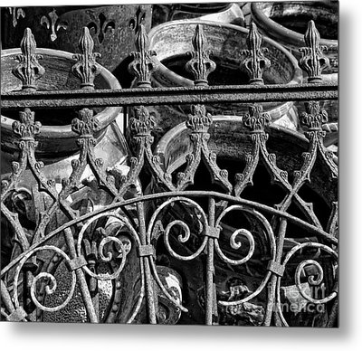 Wrought Iron Gate And Pots Black And White Metal Print by Kathleen K Parker