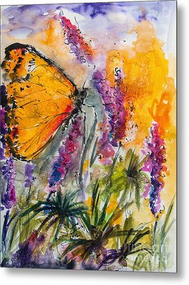 Yellow Butterfly On Lupines Metal Print by Ginette Callaway