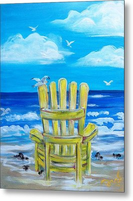 Yellow Chair Metal Print by Doralynn Lowe