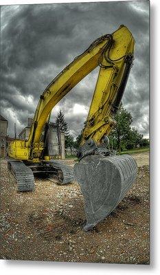 Yellow Excavator Metal Print by Jaroslaw Grudzinski