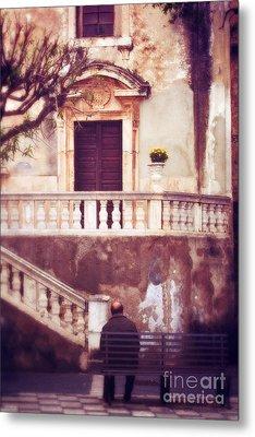 Yellow Flowers In A Vase In Taormina Sicily Metal Print by Silvia Ganora
