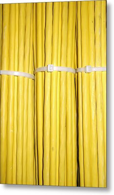 Yellow Network Cables Metal Print by Matthias Hauser