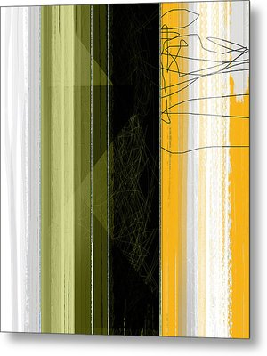 Yellow Rain Metal Print by Naxart Studio