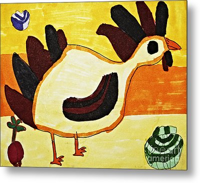 Yellow Rooster Still Metal Print by Stephanie Ward