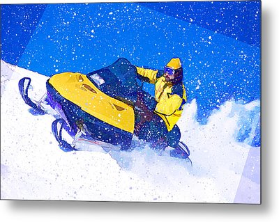 Yellow Snowmobile In Blizzard Metal Print by Elaine Plesser