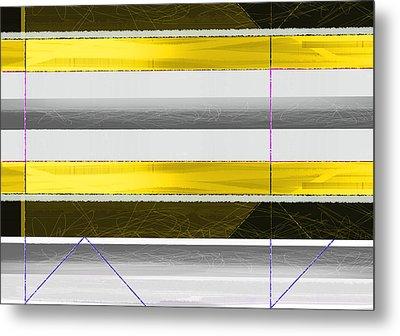 Yellow Stripes Metal Print by Naxart Studio