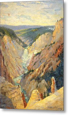 Yellowstone Falls And Hoodoos Metal Print by Lewis A Ramsey