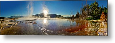 Yellowstone National Park - Minerva Terrace - Panorama Metal Print by Gregory Dyer