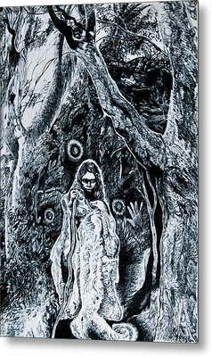 Young Aboriginal Woman And River Red Gum Metal Print by Helen Duley