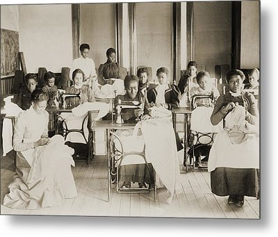 Young African American Women Sewing Metal Print by Everett