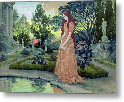 Young Girl In A Garden  Metal Print by Eugene Grasset