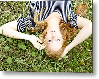 Young Girl On Grass Metal Print by Kicka Witte