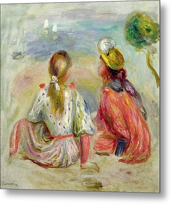 Young Girls On The Beach Metal Print by Pierre Auguste Renoir