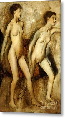 Young Spartan Girls Provoking The Boys Metal Print by Edgar Degas