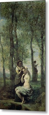 Young Woman At Her Toilet Metal Print by Jean Baptiste Camille Corot