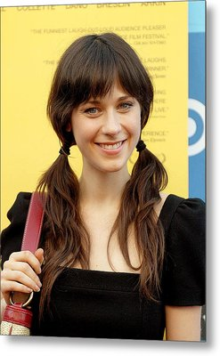 Zooey Deschanel At Arrivals For Little Metal Print by Everett