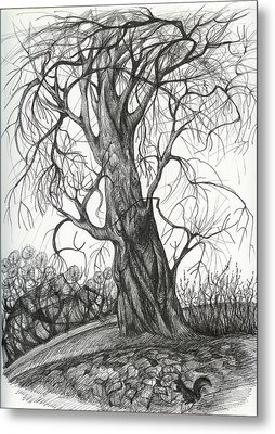 Autumn Dancing Tree Metal Print by Anna  Duyunova