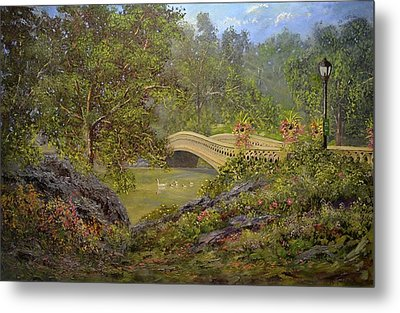Bow Bridge Central Park Metal Print by Michael Mrozik