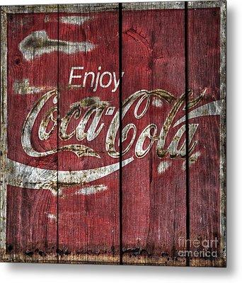 Coca Cola Sign Barn Wood Metal Print by John Stephens