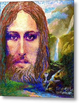 Contemporary Jesus Painting, Chalice Of Life Metal Print by Jane Small
