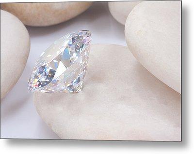 Diamond On White Stone Metal Print by Atiketta Sangasaeng