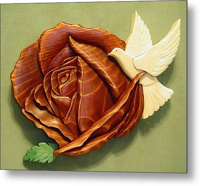 Dove On A Rose Metal Print by Russell Ellingsworth