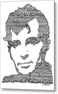 Jack Kerouac Black And White Word Portrait Metal Print by Kato Smock