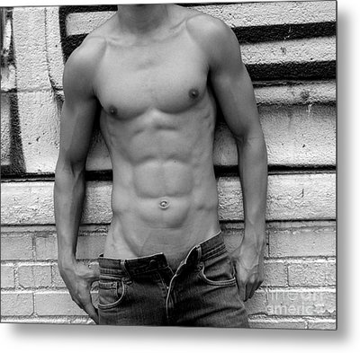 Male Abs Metal Print by Mark Ashkenazi
