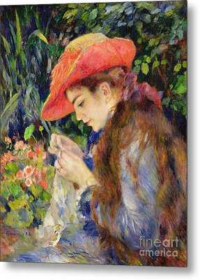 Marie Therese Durand Ruel Sewing Metal Print by Pierre Auguste Renoir