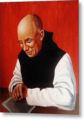 Portrait Of Thomas Merton Metal Print by Joseph Malham