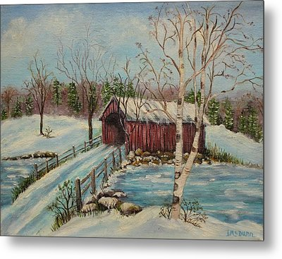 Snow Covered Bridge Metal Print by Irene McDunn