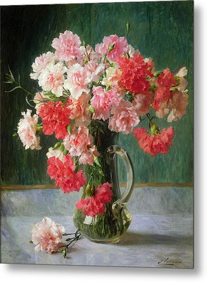 Still Life Of Carnations   Metal Print by Emile Vernon