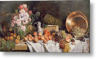 Still Life With Flowers And Fruit On A Table Metal Print by Alfred Petit